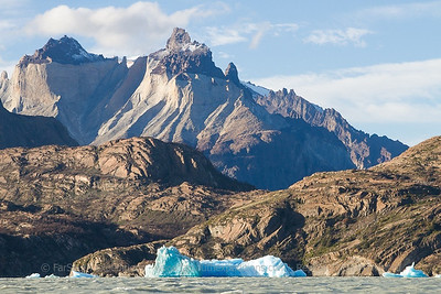Los Cuernos, one of the most spectacular peaks of the Paine Massif - view from Lago Grey, Torres del Paine National Park, Chile