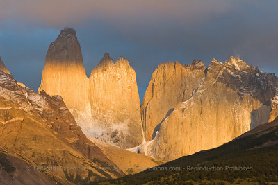 Dawn at Las Torres (the 'Towers'), Paine Massif, Torres del Paine NP, Chile