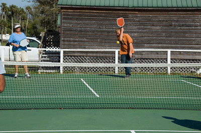 Austin serving the pickleball at Peace River TT