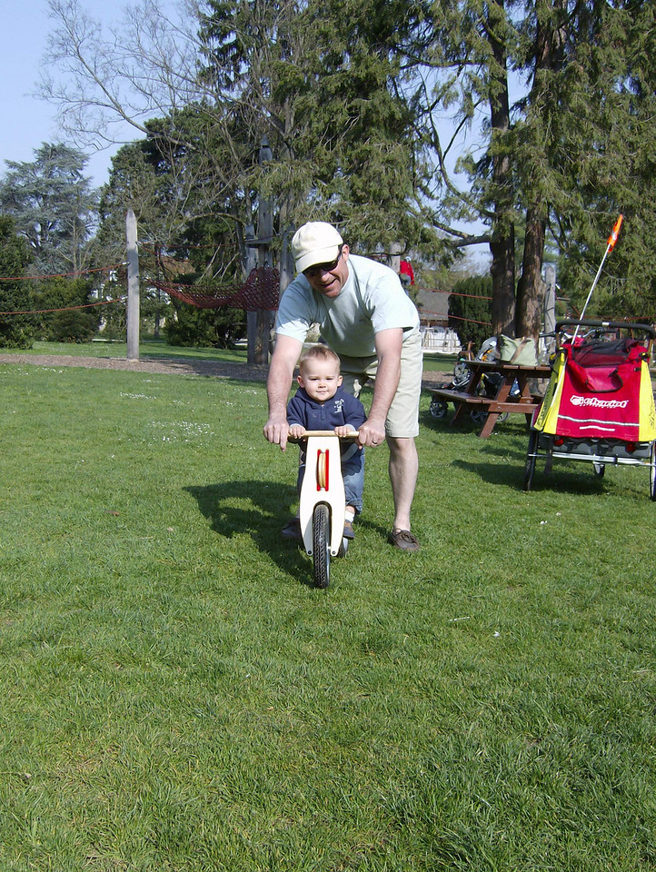 "Mike helped Jack have a go on Kaili's ""Like-a-Bike"". He'll get one next year, they're great!"