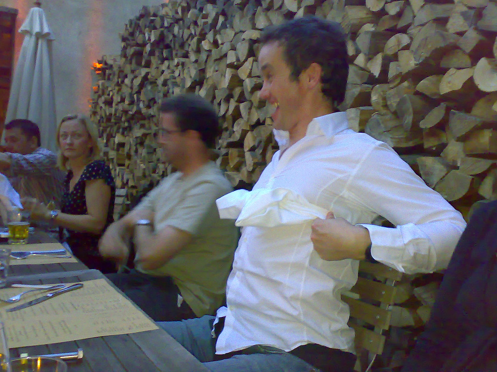 Rowan providing the entertainment at Elaine's birthday dinner