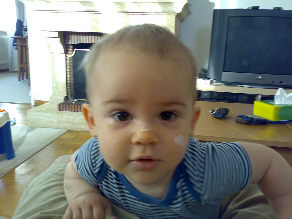 We turned our back on Jack for ~1 minute and he had given himself some war paint with a tin of cream for eczema