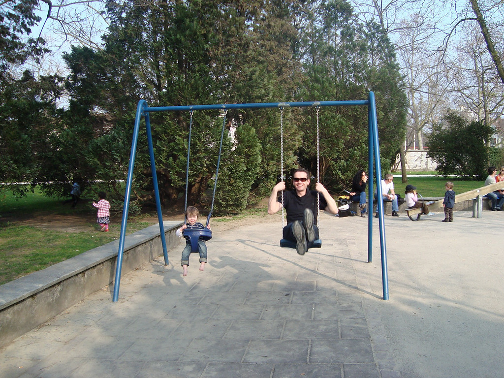Father & son on the swings