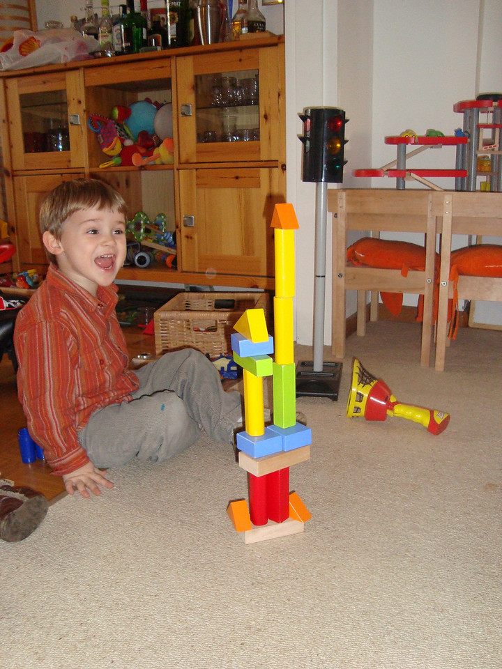 Jack saying 'cheese' and admiring his tower