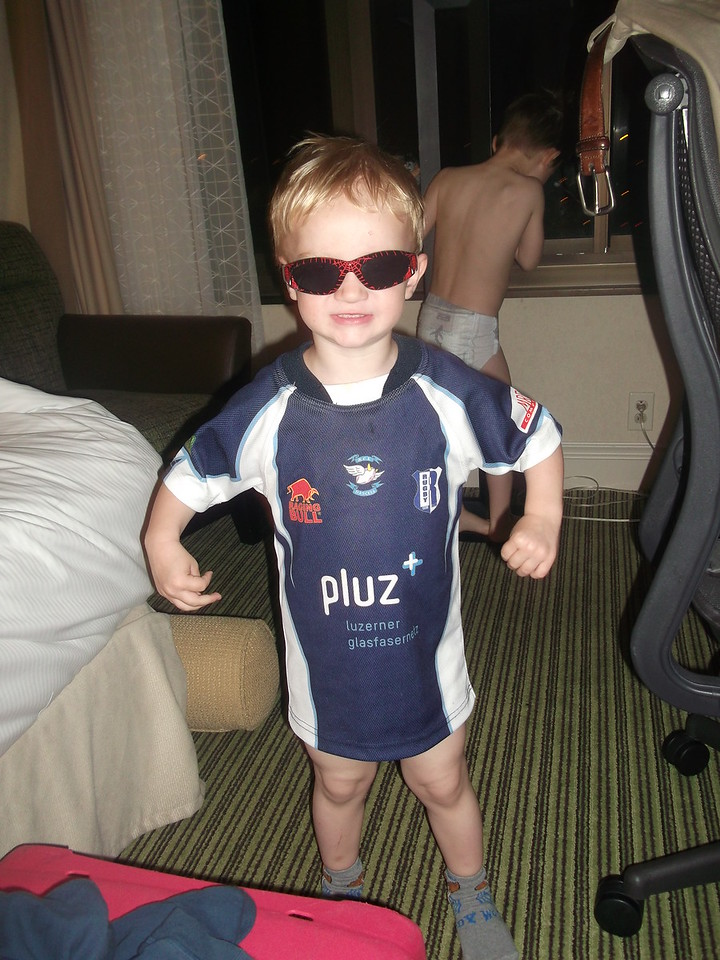 Jet-lagged babies were up @ 4am: Danny was ready to hit the sunshine!