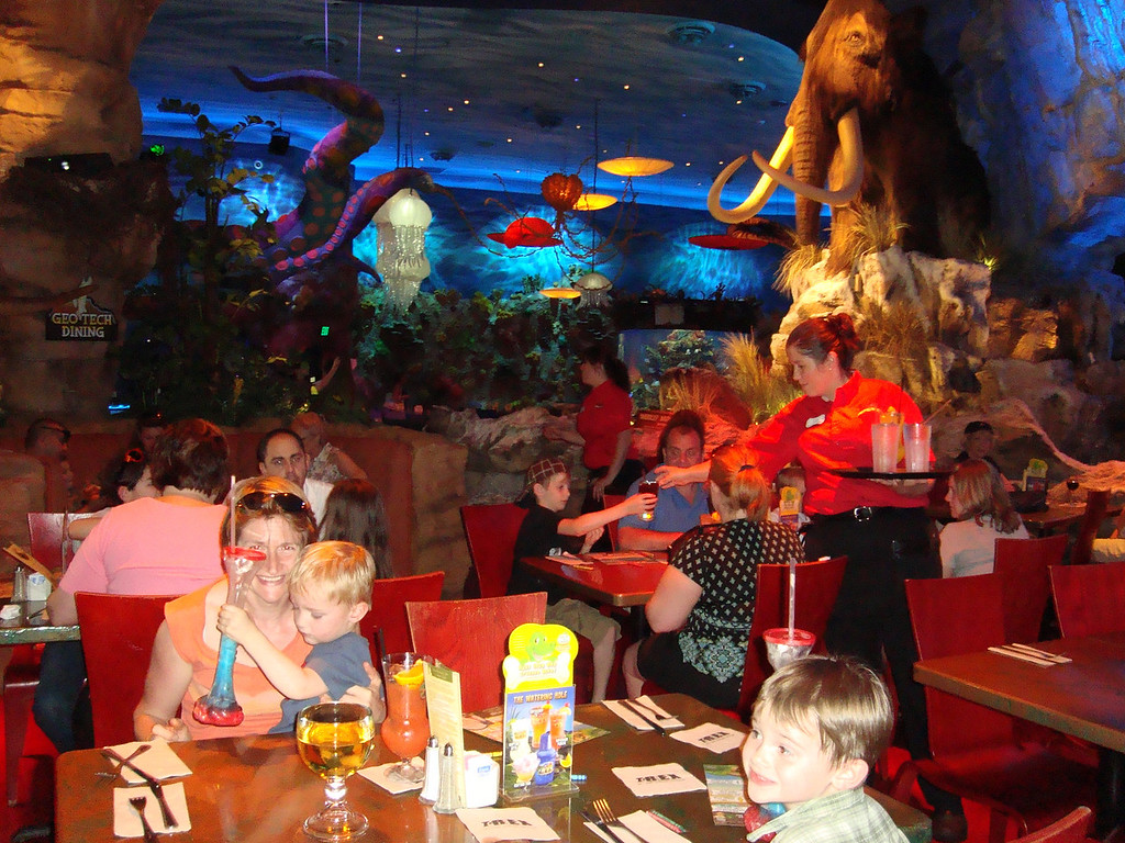 Had lunch at the T-Rex cafe: it was all a bit much for Danny, but the dinosaur leg glass full of slushy helped a lot