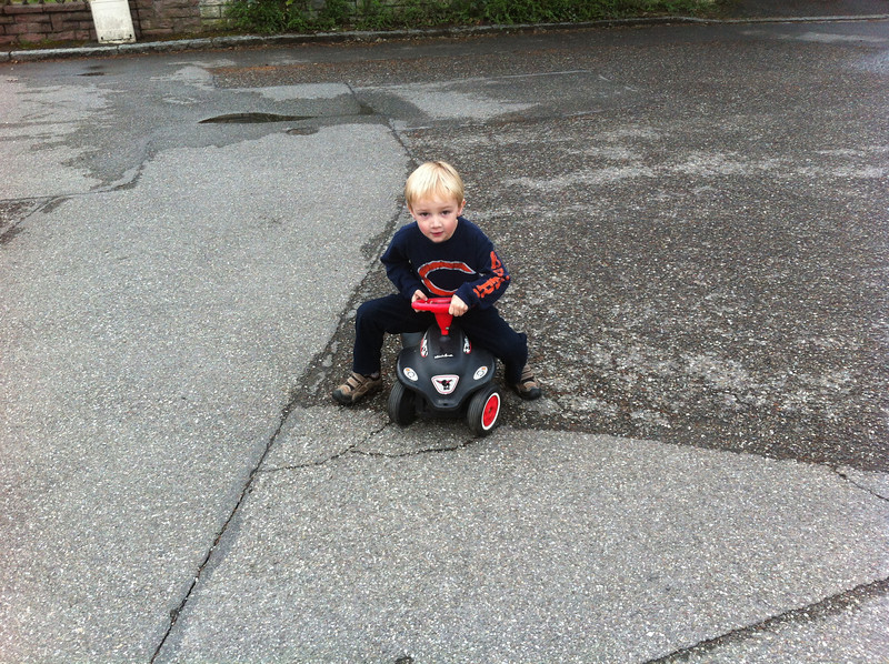 Never too big for the Bobby Car :-)