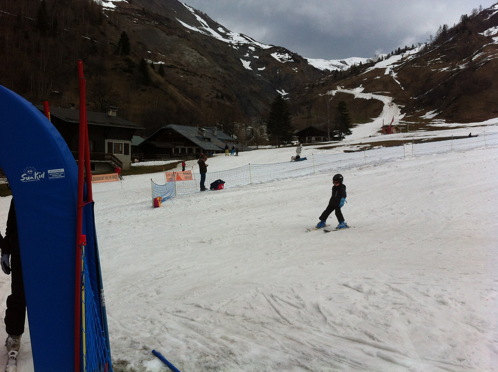 Jack skied literally all by himself for a couple of hours, up & down the baby slope, whilst we taught Danny how to ski