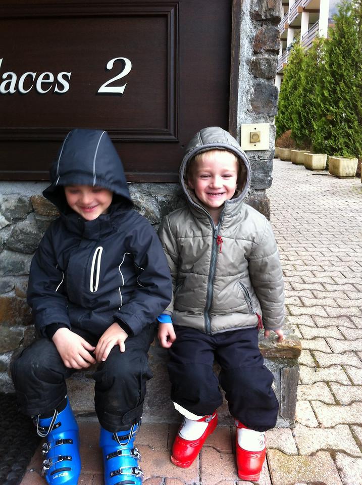 Happy boys - ready for ski school