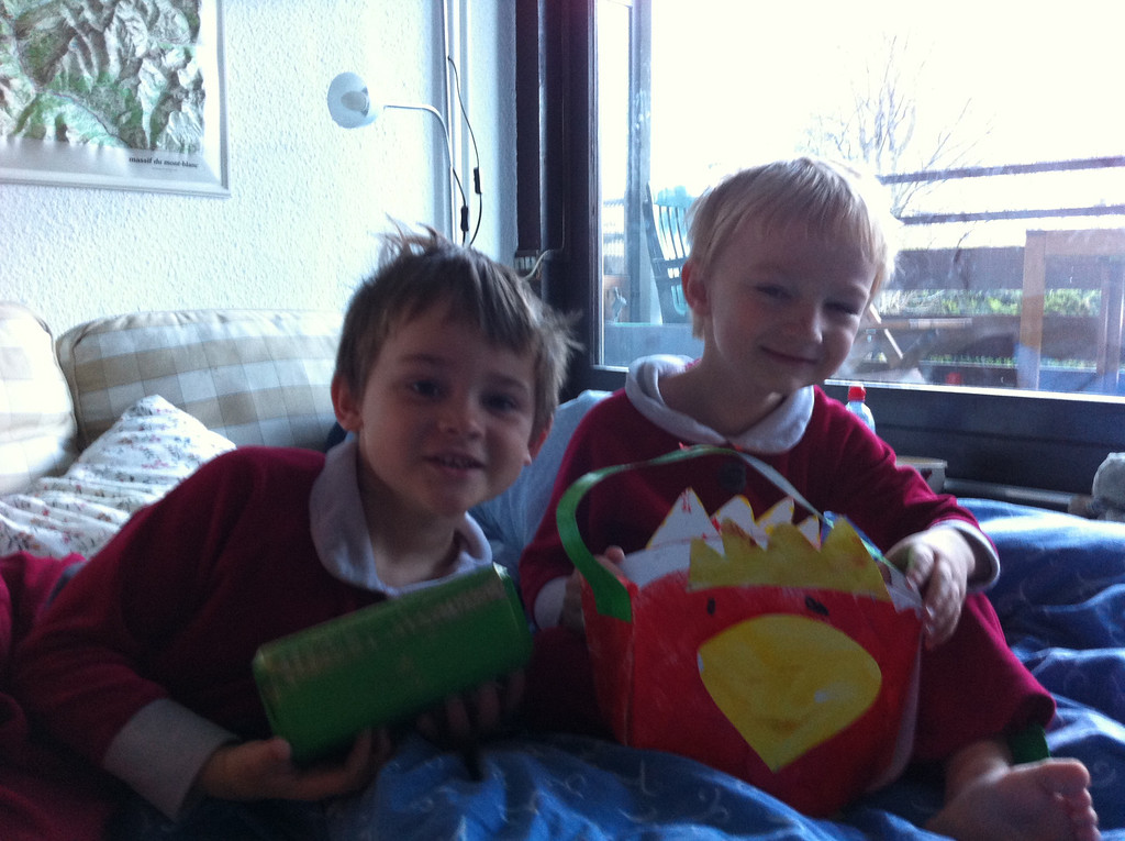 The boys made Easter baskets at school