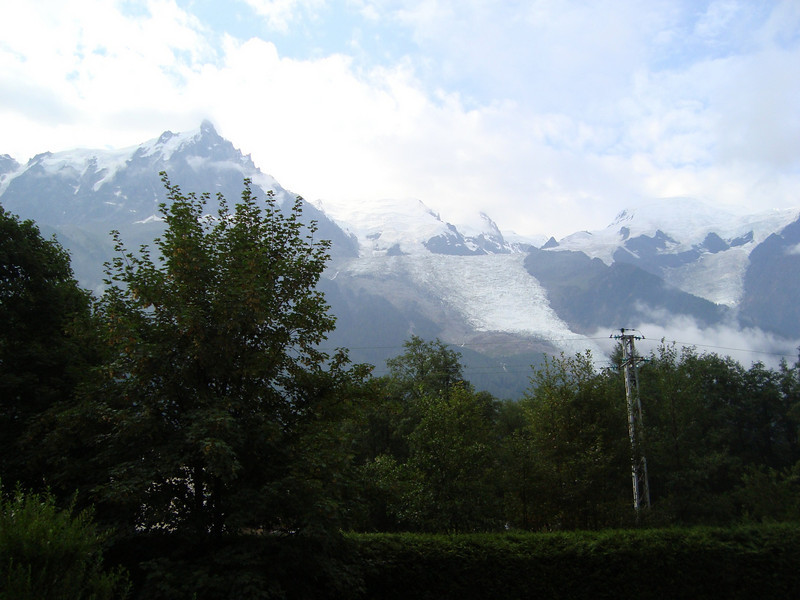 Bit of a cloudy view from our apartment in Chamonix