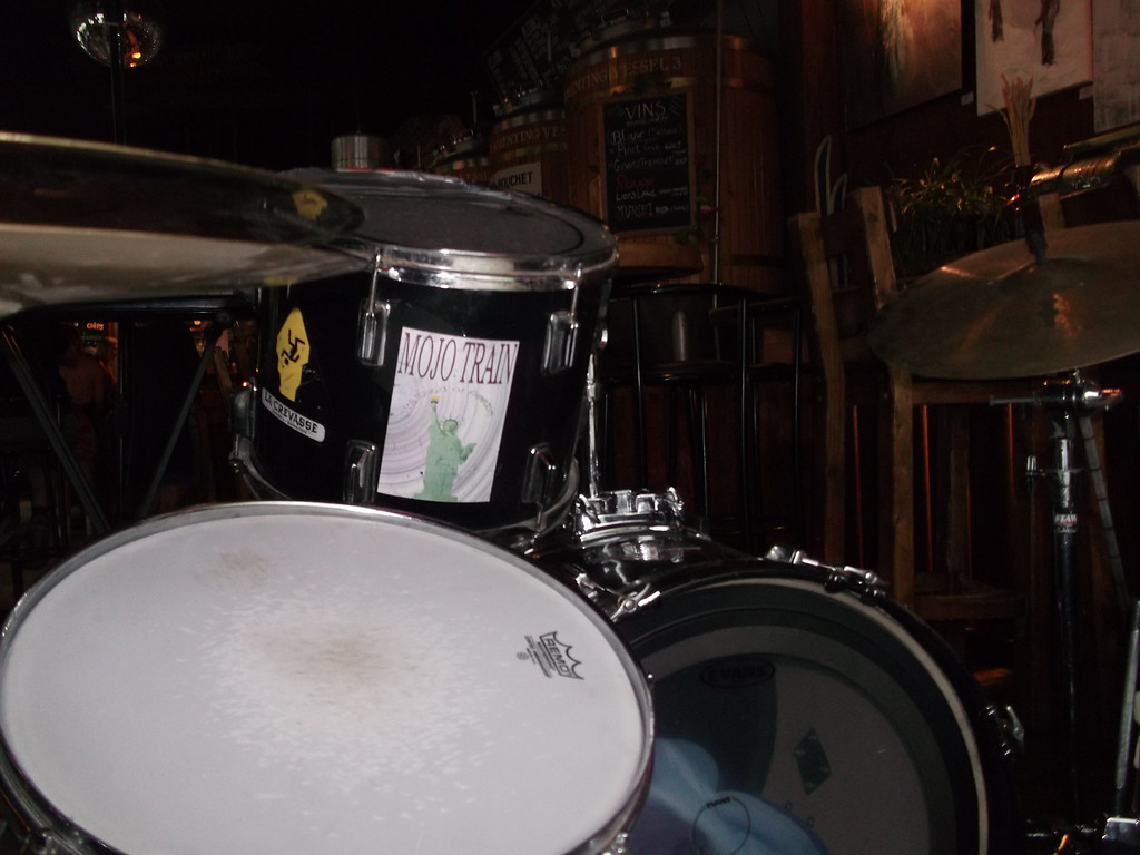 The drum-set in MBC had an old Mojo Train sticker on it
