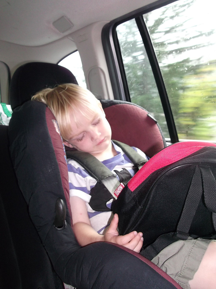 Danny fell asleep within 3 minutes of the car leaving; didn't even have time to open his bag & get some toys out