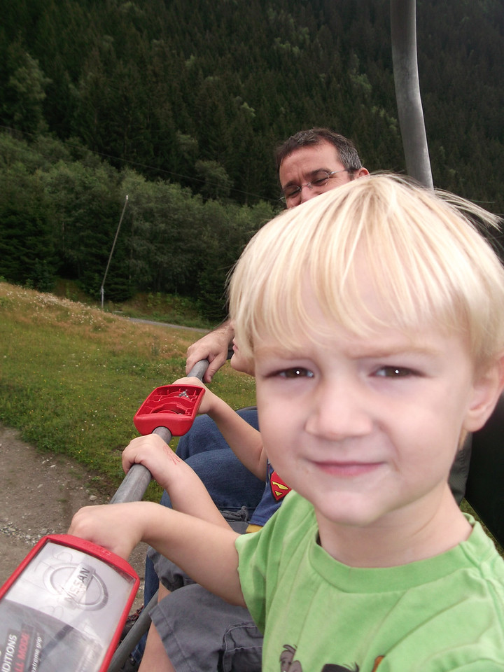 Danny is the chill-meister his first time on a chair-lift