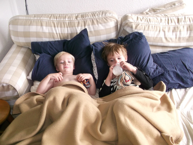 The obligatory 'boys drinking morning milk in bed in Chamonix' shot