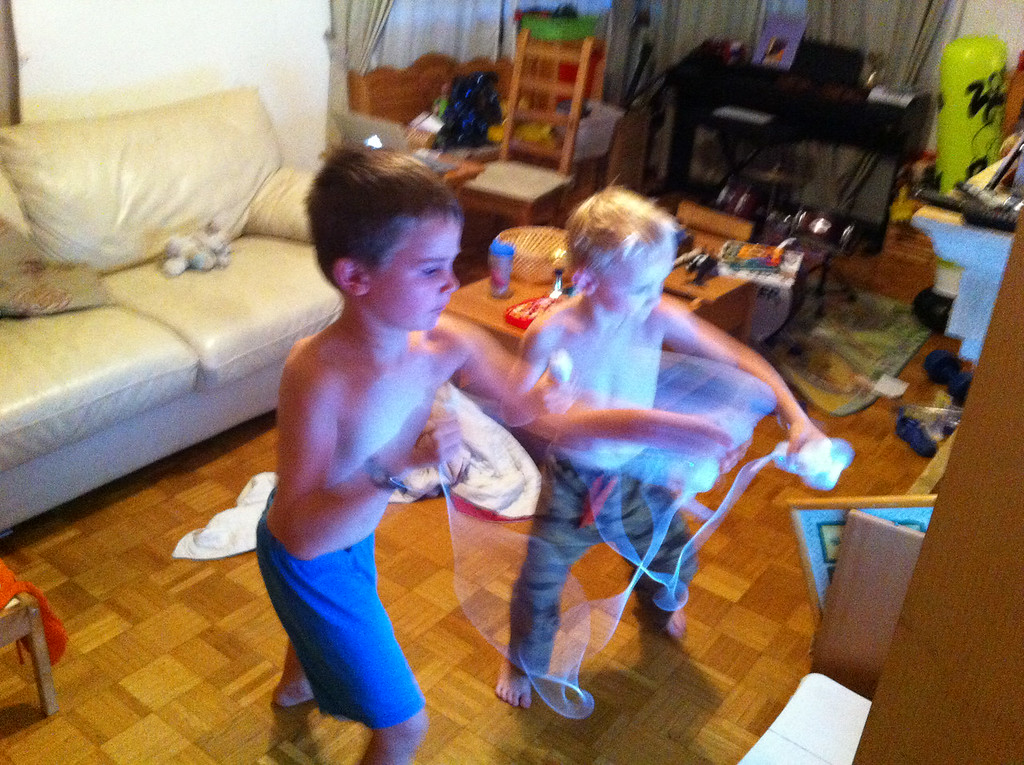 The boys LOVE Wii boxing!