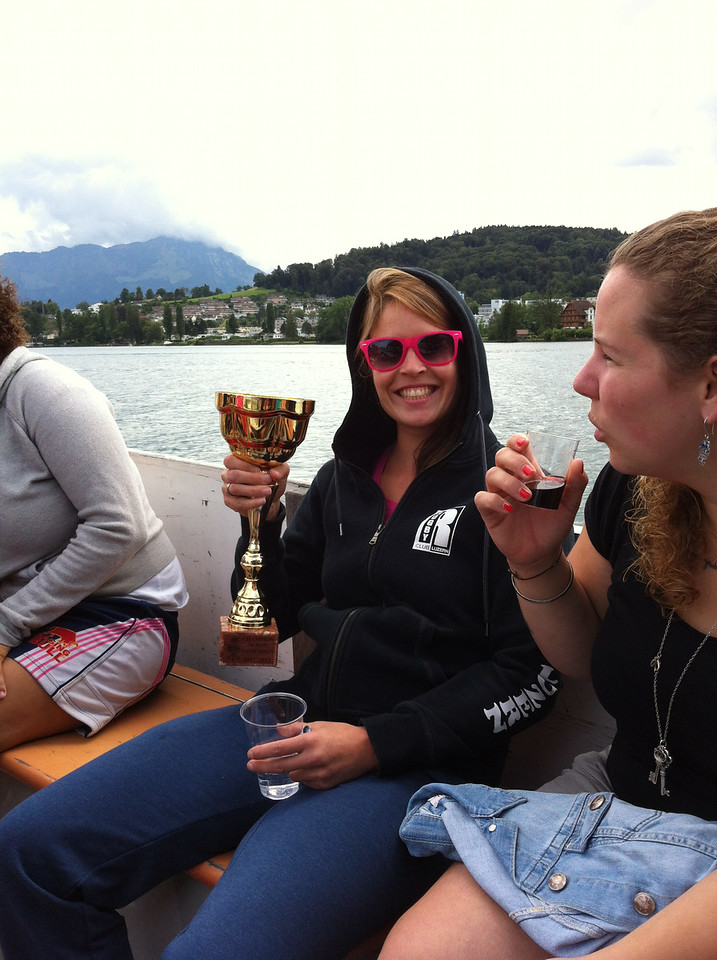 We had our end-of-season Swiss Champions celebration on a boat on Lake Luzern: my co-captain Sarah