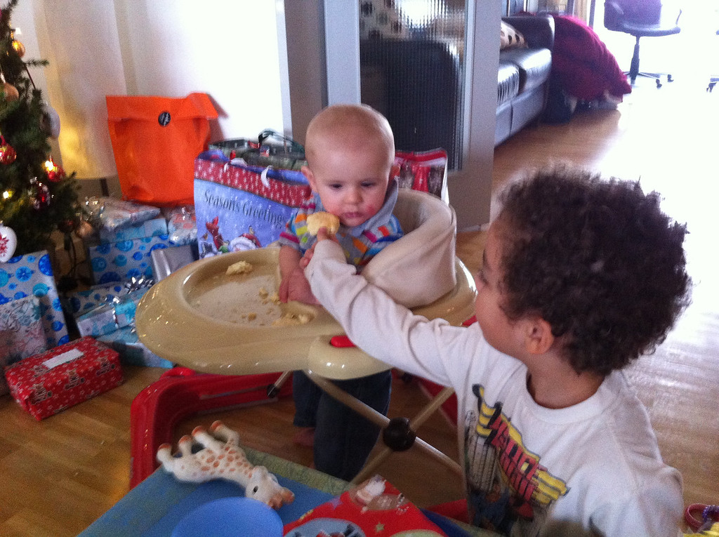 Cullen feeding Aiden
