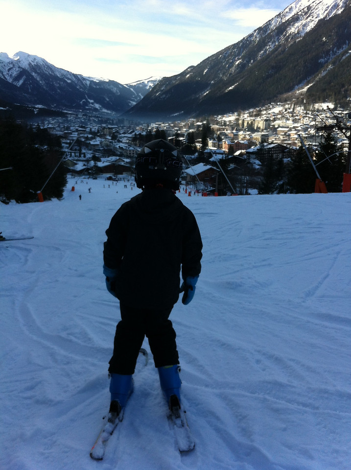 At the top of the blue piste @ Les Planards (his first blue run)
