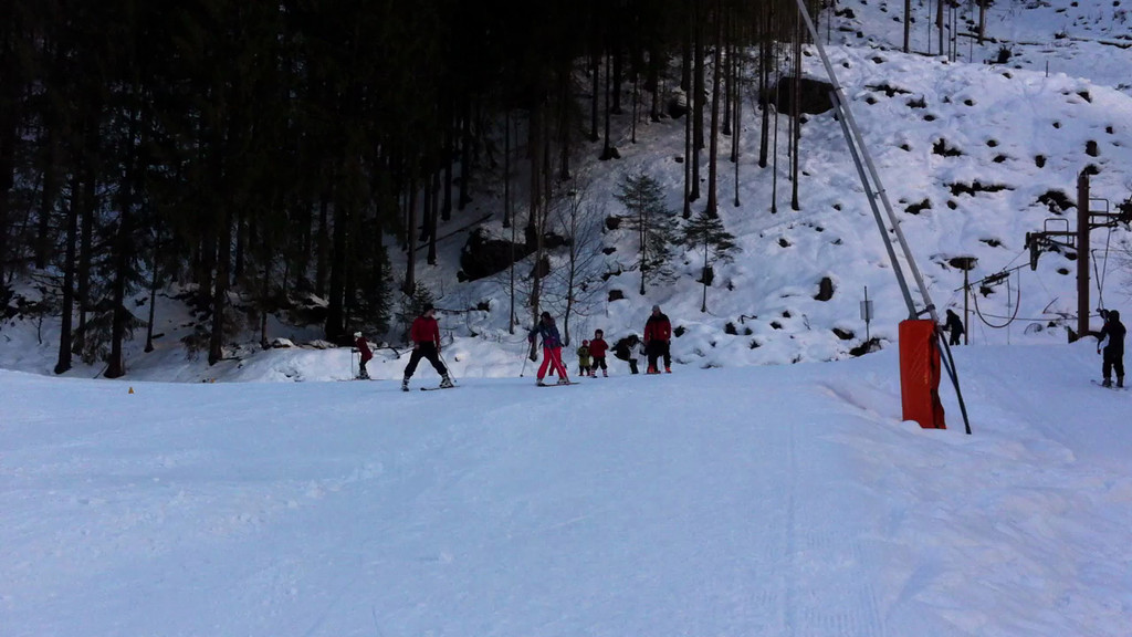Here's the wee man bombing down the slope