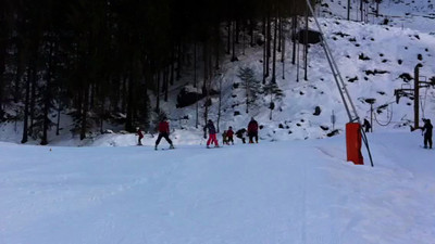 Here's the wee man bombing down the slope (small file)