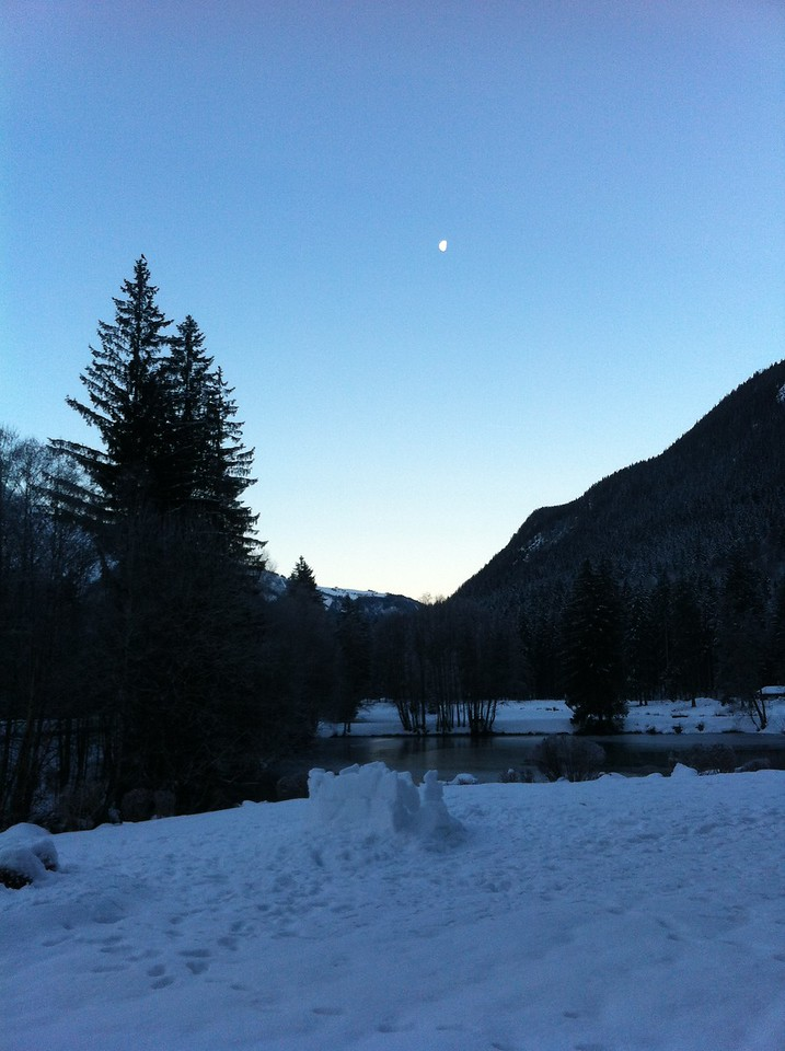 Morning moon over the lake
