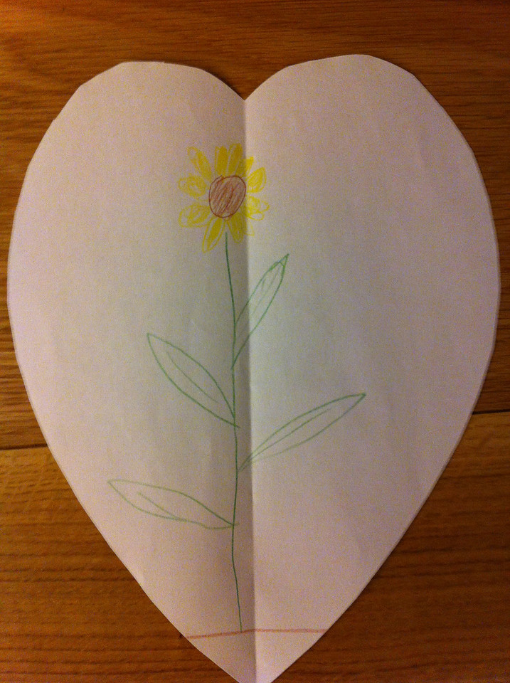 And a sunflower in a heart from Danny (with a little help from Daddy)