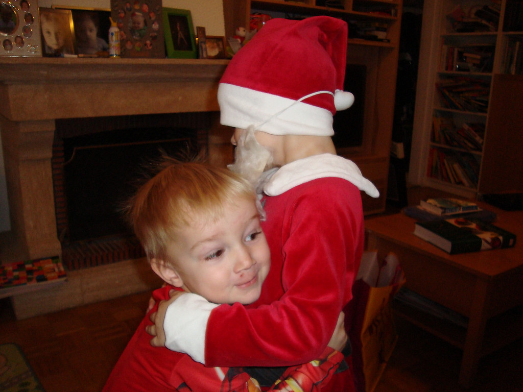 Ironman & Santa Claus having a cuddle