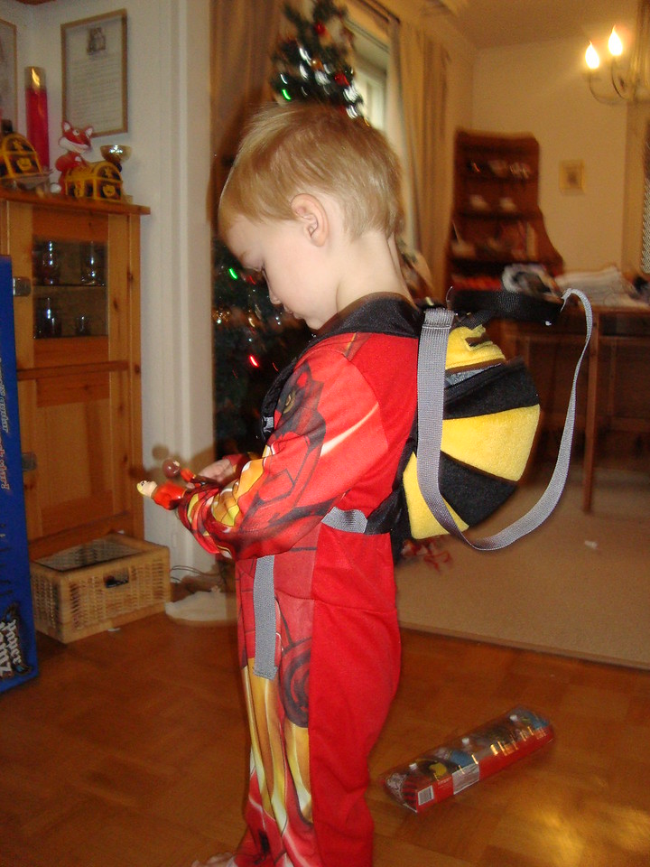 Danny sporting his bumblebee back-pack from Ginny B & the boys