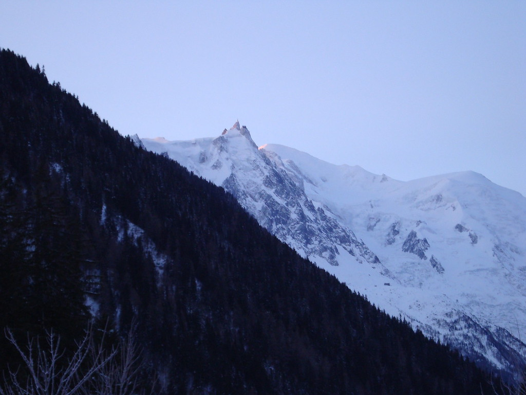 The sun is just hitting the far side of Mont Blanc