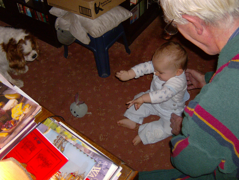 """Jack sat with Grandpa for ages & squealed with delight whilst Benny played """"fetch""""."""