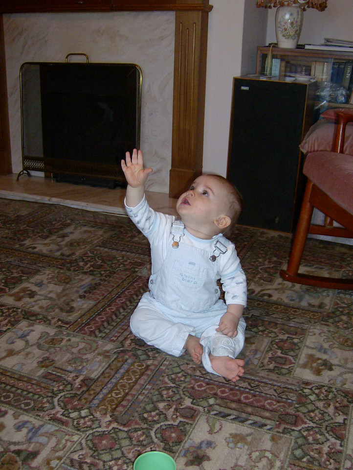 Lights on the ceiling are Jack's favourite thing in the whole world. Here he is shouting at them (& his hand, which is another favourite pastime!).