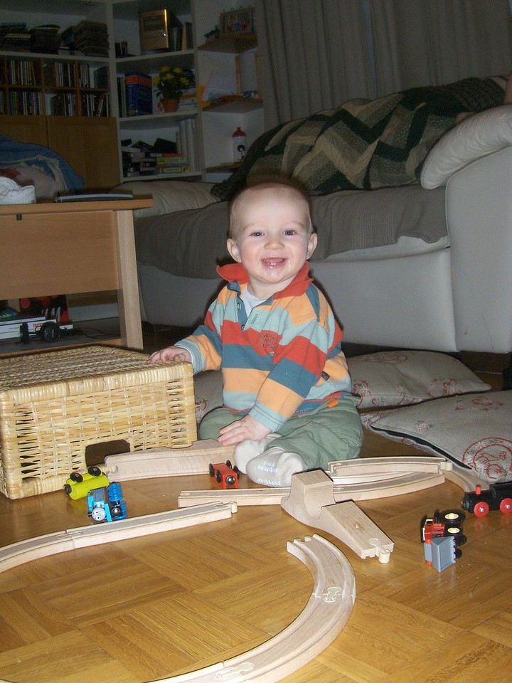 Danny having a go with Jack's train set