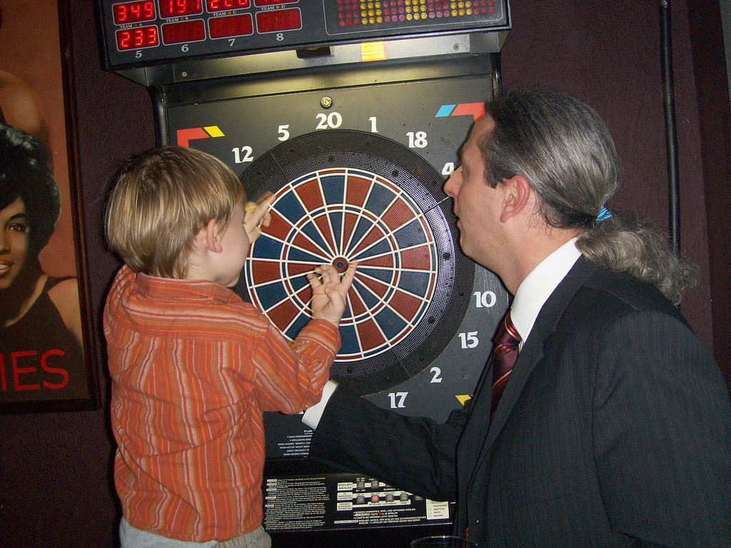 Jack had a LOT of fun playing with the darts board with Andy