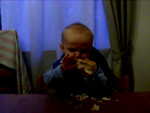 """After pretty much every meal we give Danny a piece of bread, it is his favourite thing. Here he is, in what other babies call """"The Bread Zone"""""""