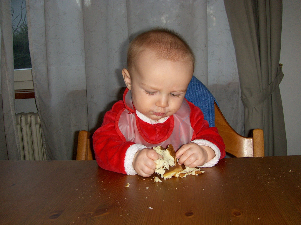 Danny inspecting his first ever pancake