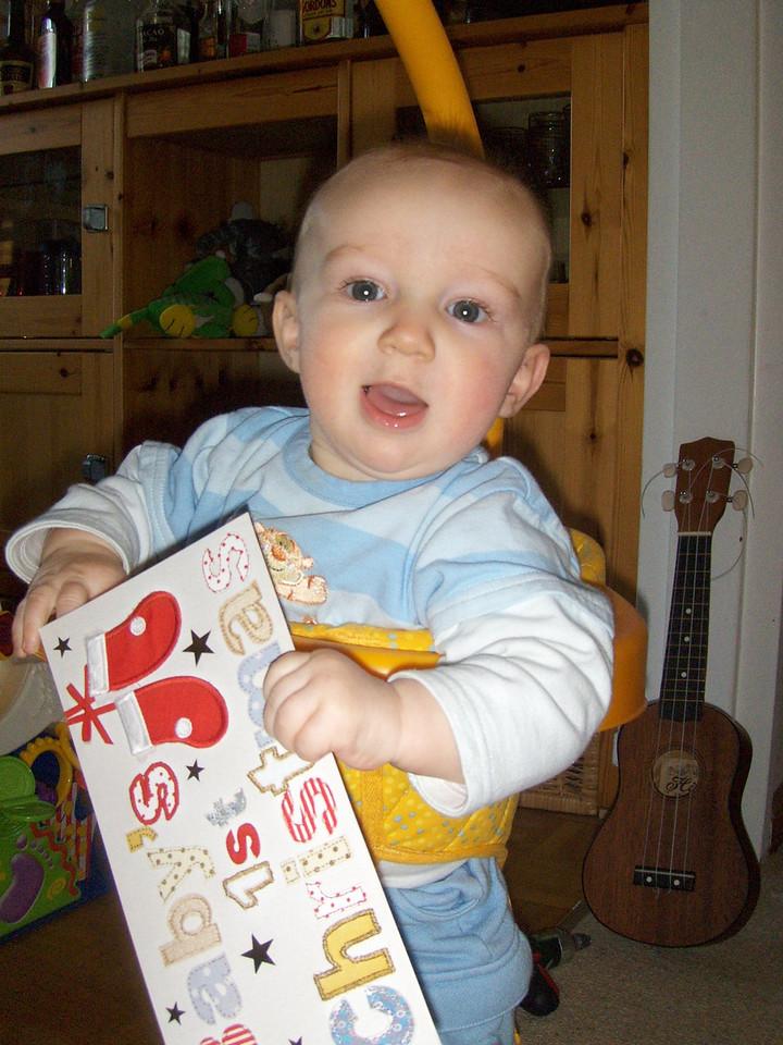 Danny with his 1st Xmas card - from Grandma & Grandpa