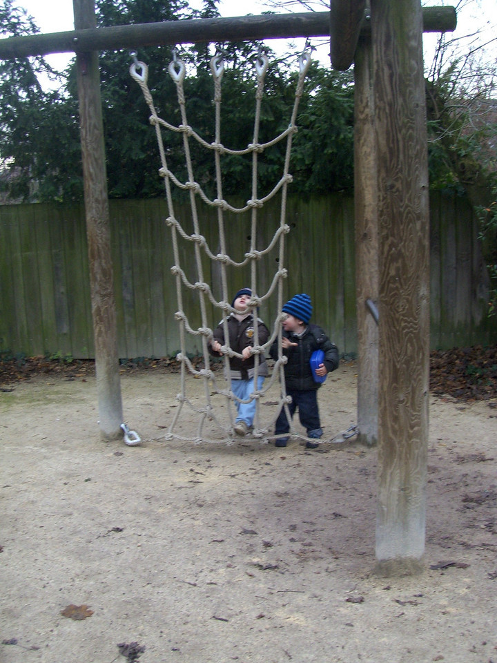 Jack & Josh trying (unsuccessfully) to climb this net