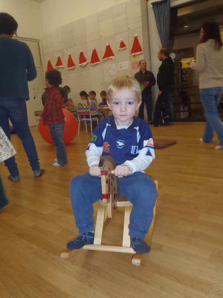 Danny rode this rocking horse whilst everyone else danced for ~15 minutes