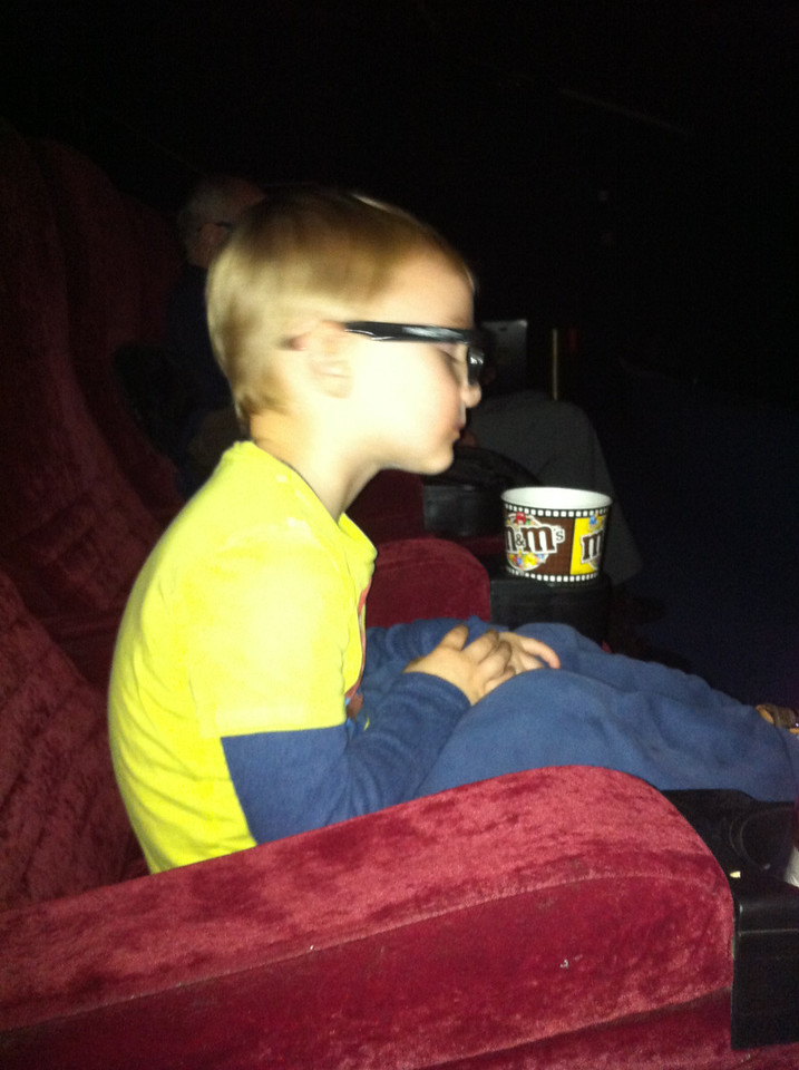 Danny sat still for about the first 30 minutes of Happy Feet 2