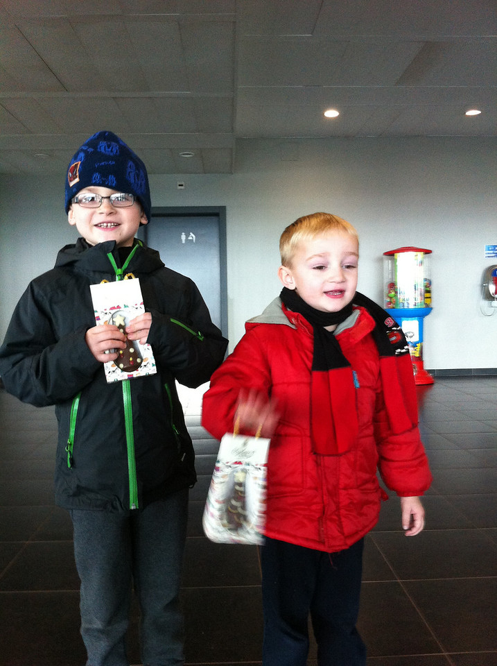 I had promised the boys the Xmas tree would go up when I got back; I got them a chocolate Xmas tree each to celebrate when they met me at the airport