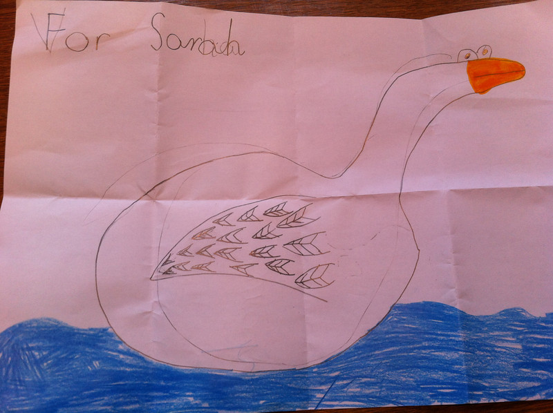 "Rhonda & I took the kids to see the English panto: this year = ""Mother Goose"". Kaili made this picture for me!"