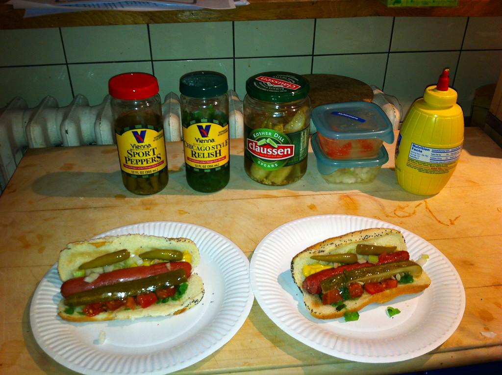 Mike came back from Kyle's wedding in Chicago with hot-dog fixings!