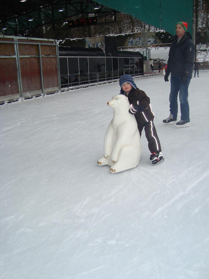 Gabriel cruising round with his bear