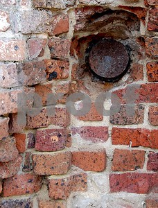 A civil war shell embedded in the wall at Ft. Sumter
