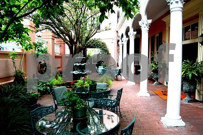 Our hotel courtyard at the Meeting Street Inn.