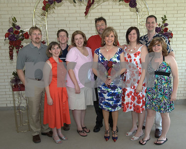 From L to R:  Robby (Bill's son), his wife Vanessa, Chris Whitehead, Rae Whitehead (Bill's daughter), Bill, Linda, Chenoa Hardwick (Linda's daughter), Mo Hardwick and Kimmie Nutt (granddaughter).