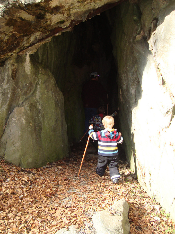 We had lots of very warm weather, so took an afternoon stroll in the woods one afternoon - the boys found a cave to explore