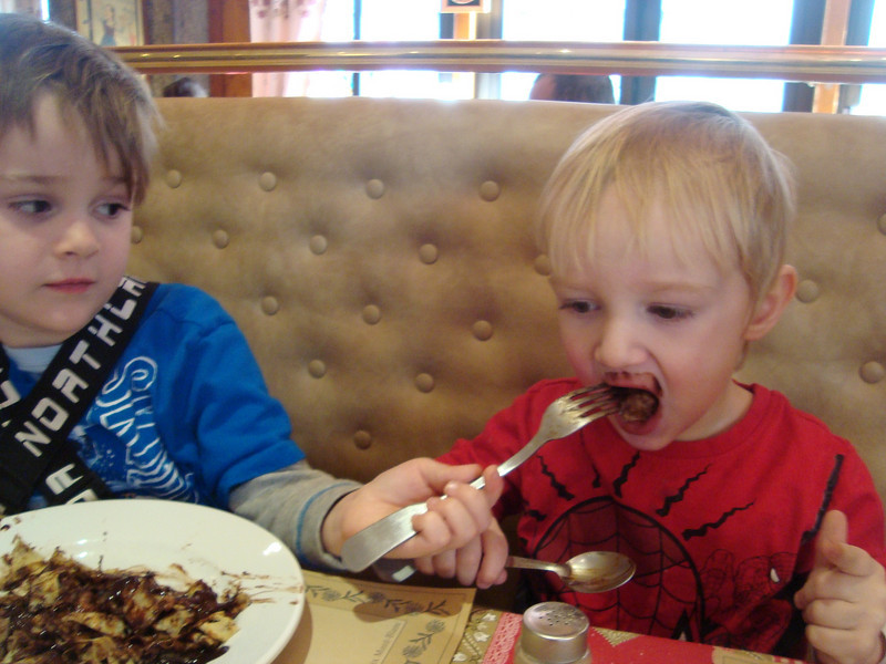 In a rare moment of brotherly love, Jack shares his treasured chocolate pancake with Danny