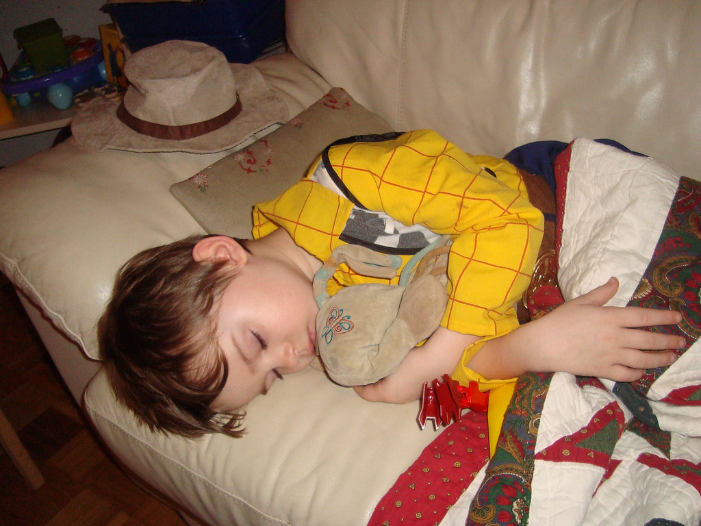 I went up to bed one night after midnight & both boys were in their pyjamas asleep - when we got up at 6am we found Jack had woken-up, dressed himself in his Woody costume & then gone back to sleep on the sofa!